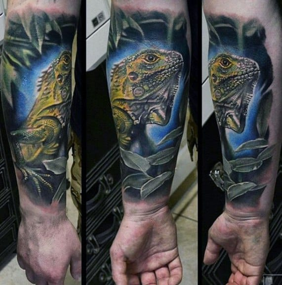 Iguana Tattoo Design Ideas For Males
