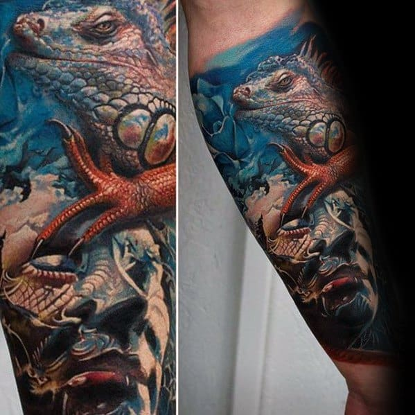 Iguana Tattoo Design On Man