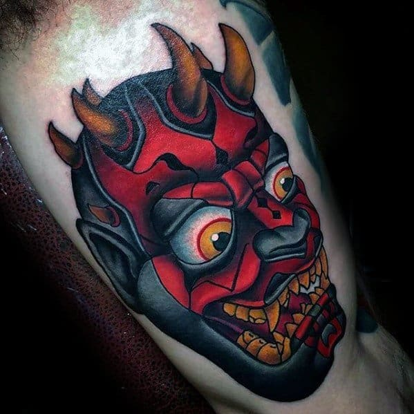 Iinner Arm Bicep Male With Cool Darth Maul Tattoo Design