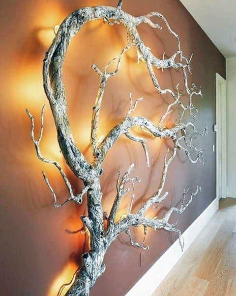 Illluminated Led Tree Branch Bachelor Pad Wall Decor Ideas