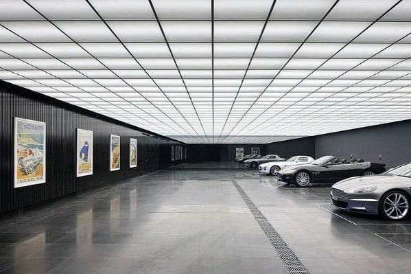 Illuminated Modern Tiles Garage Ceiling Ideas