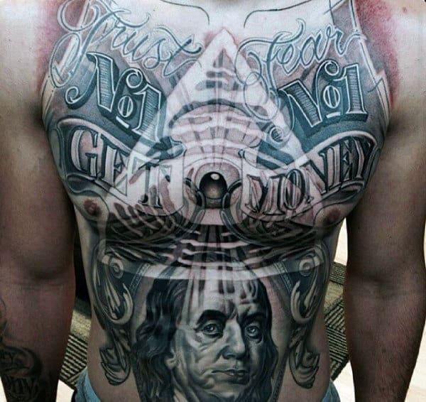 Illuminati All Seeing Eye Modern Guys Money Chest Tattoos