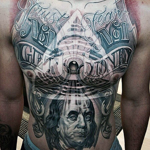 Illuminati All Seeing Eye Money Mens Stomach Tattoo Designs