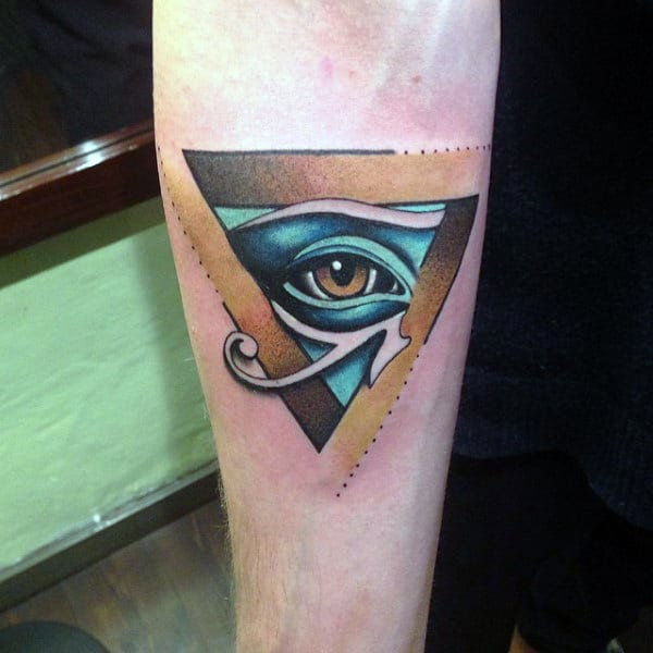 Illumnati Triangle Tattoo On Arms For Men