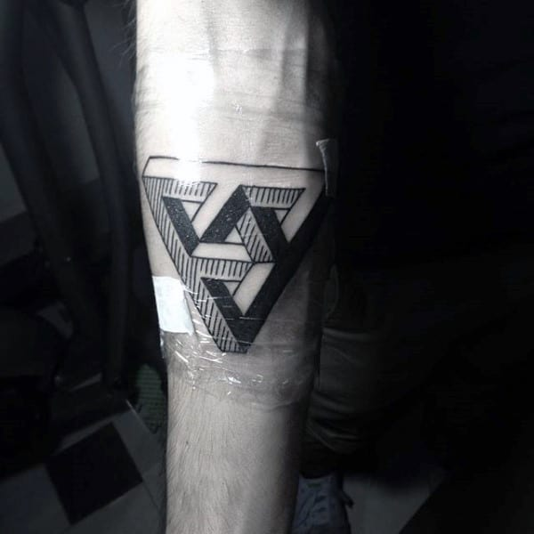 Impossible Geometric Triangle Tattoo On Arms For Men