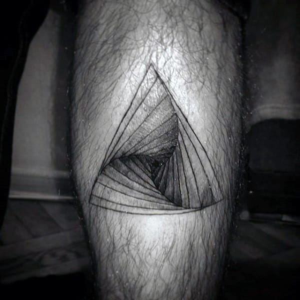 Impossible Staircase Triangle Tattoo On Legs For Guys