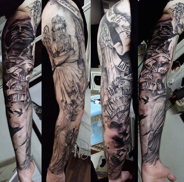 100 guardian angel tattoos for men spiritual ink designs for Male sleeve tattoo ideas