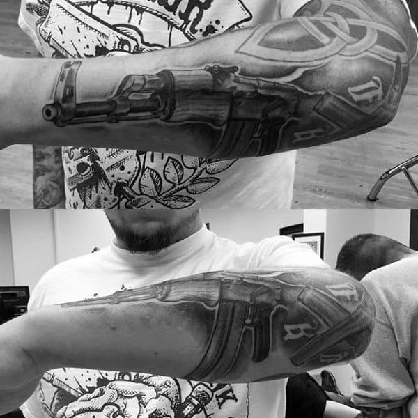 Impressive Ak 47 Tattoo Male Full Arms