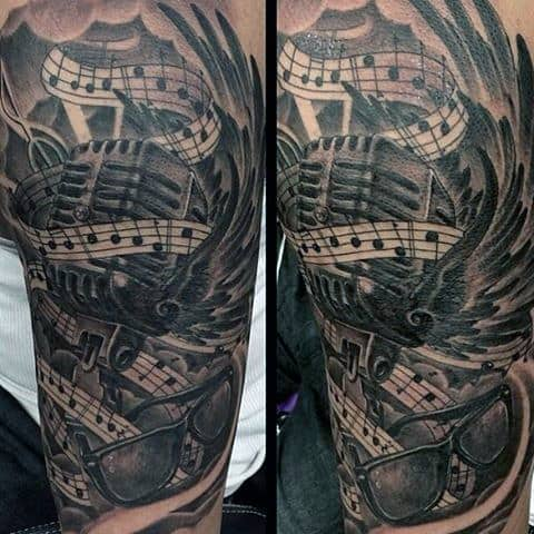 Impressive Black And Grey Musical Tattoo On Arms For Men