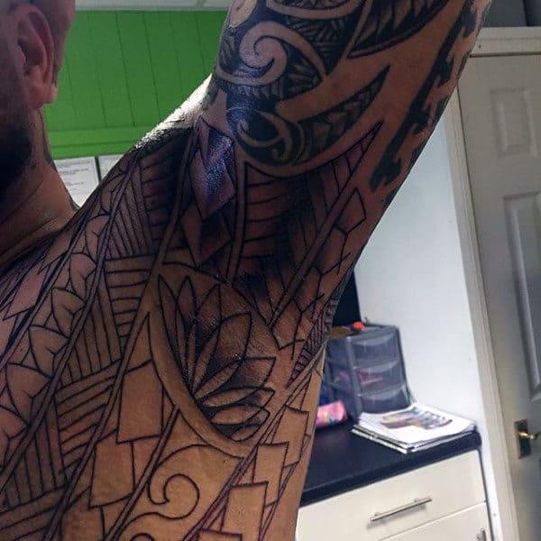 Impressive Black Design Tattoo Male Armpit