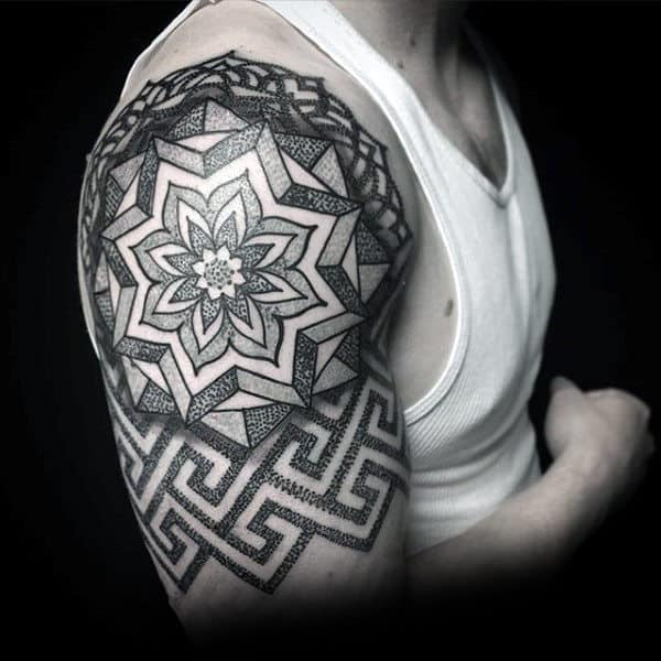 Impressive Black Dotwork Floral Tattoo Male Arms