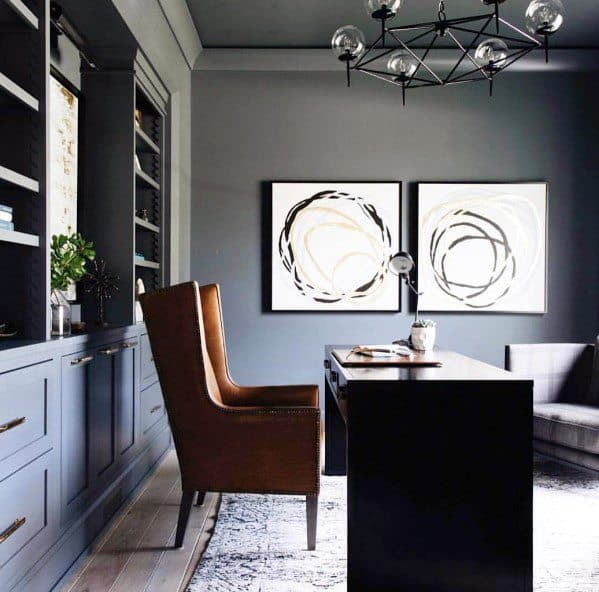 Impressive Built In Grey Painted Office Bookcases Ideas
