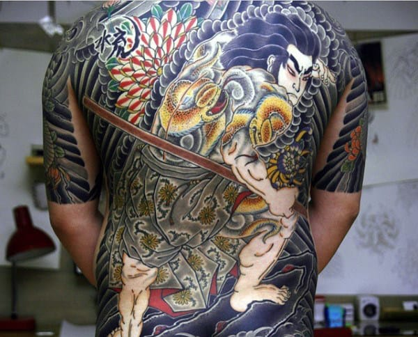 Impressive Chinese Swords And Fight Tattoo Mens Full Back