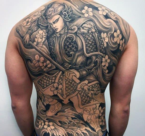 Impressive Far East Traditional Samurai Tattoo With Blossoms Mens Full Back