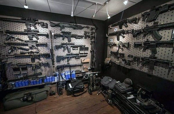 Impressive Firearm Collection In Gun Room