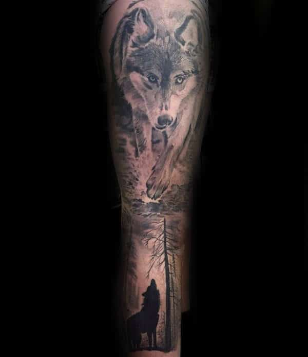 Impressive Forest Wolf Male Sleeve Tattoos