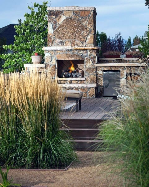 Impressive Gravel Walkway Ideas With Fireplace Wood Deck Patio