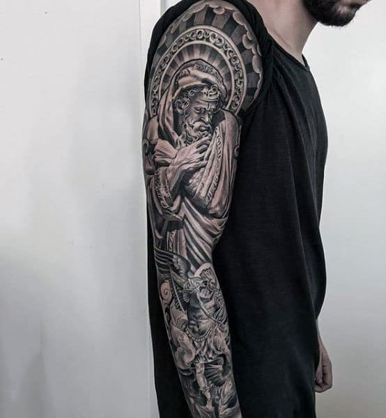 Impressive Guardian Angels Tattoo Mens Full Sleeves