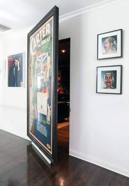 Impressive Hidden Door Ideas Behind Giant Framed Wall Art Poster