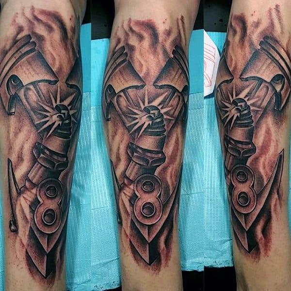 Impressive Hot Rod Tattoo Male Forearms