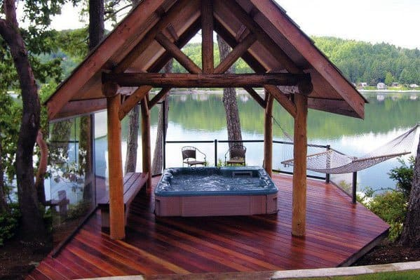 Impressive Hot Tub Deck Ideas With Covered Roof