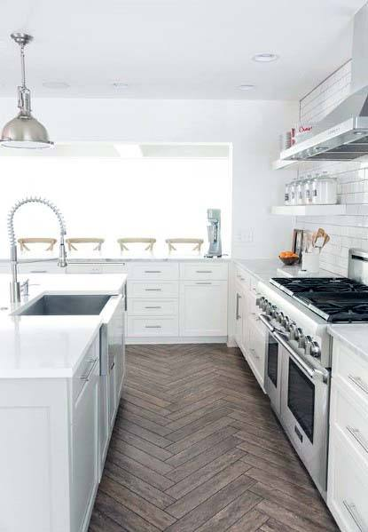 Impressive Kitchen Wood Look Tile Floor Ideas