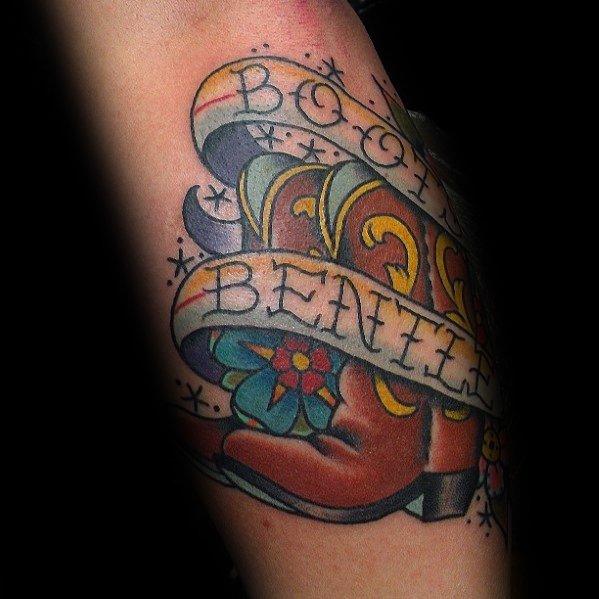 Impressive Male Cowboy Boot Tattoo Designs