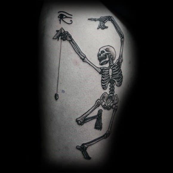 Impressive Male Dancing Skeleton Tattoo Designs