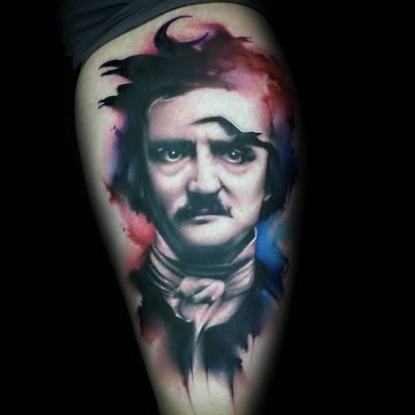 Impressive Male Edgar Allan Poe Tattoo Designs
