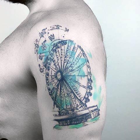 Impressive Male Ferris Wheel Tattoo Designs