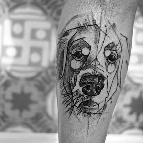 Impressive Male Golden Retriever Tattoo Designs