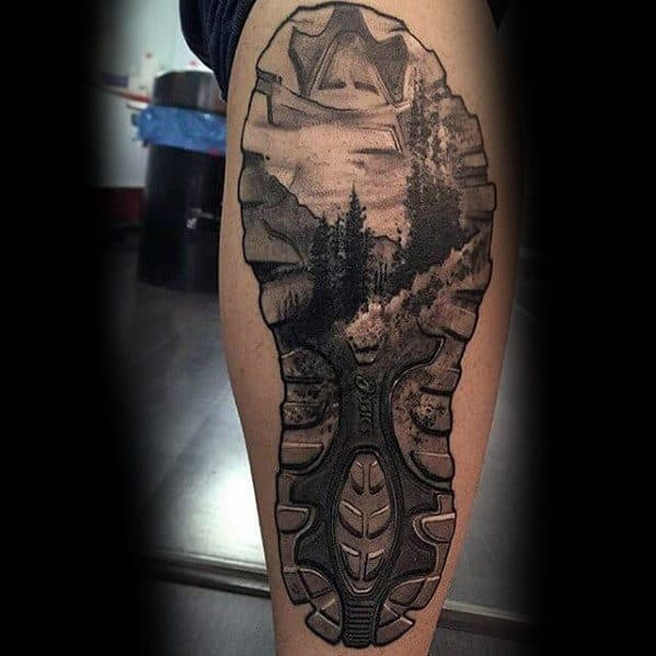 Impressive Male Hiking Tattoo Designs