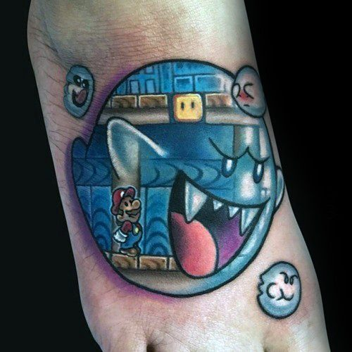 Impressive Male Mario Ghost Tattoo Designs