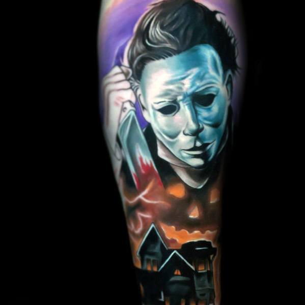 Impressive Male Michael Myers Themed Sleeve Tattoo Designs