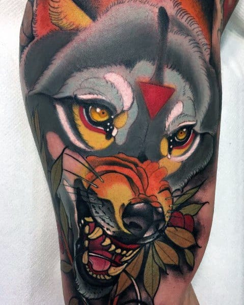 Impressive Male Neo Traditional Wolf Tattoo Designs