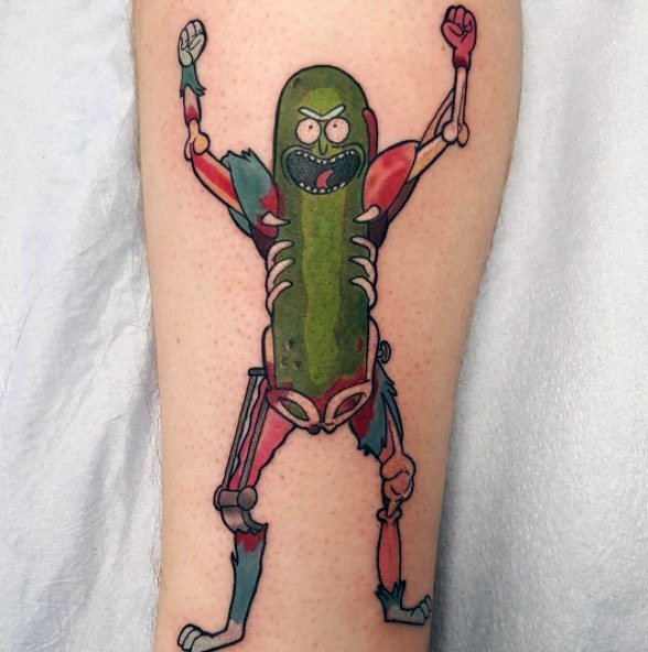 Impressive Male Pickle Rick Tattoo Designs On Forearm