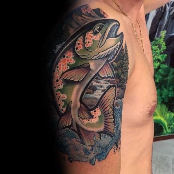 Impressive Male Salmon Tattoo Designs