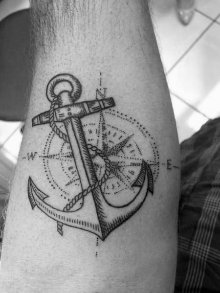 Impressive Male Small Anchor Compass Tattoo Designs