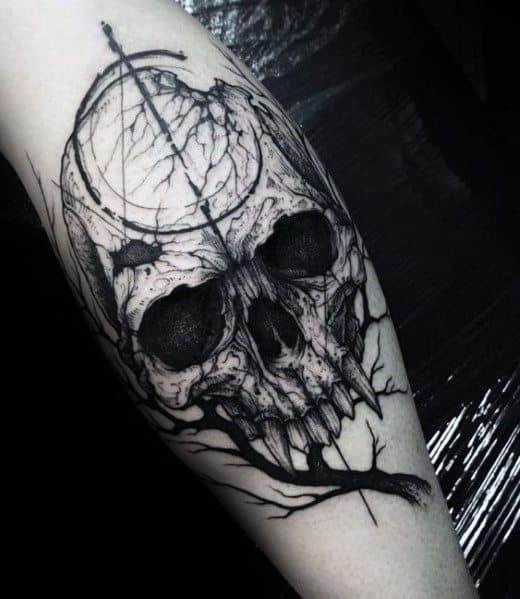 Impressive Male Tree Leg Tattoo Skull Designs
