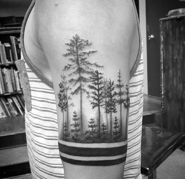 Impressive Male Tree Line Tattoo Designs On Arm