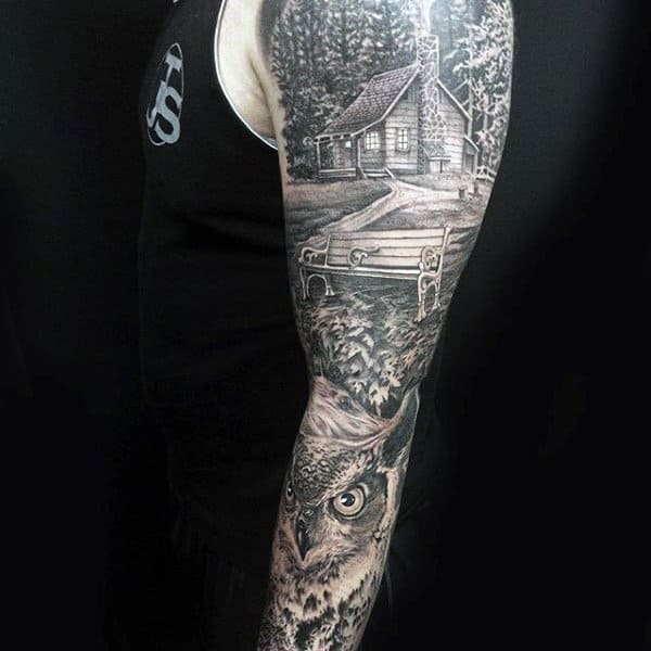 Impressive Manly Tattoo House Park And Owl Tattoo Male Full Sleeves