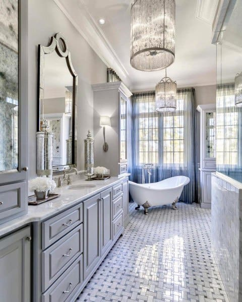 Impressive Master Bathroom Ideas Double Chandeliers