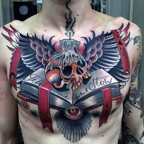 Impressive Open Book And Lighted Candle On Skull Tattoo Male
