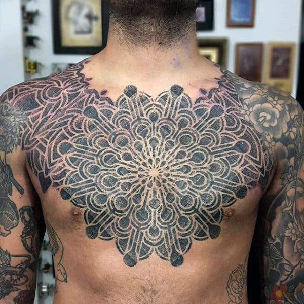 Impressive Pattern Tattoo Male Chest
