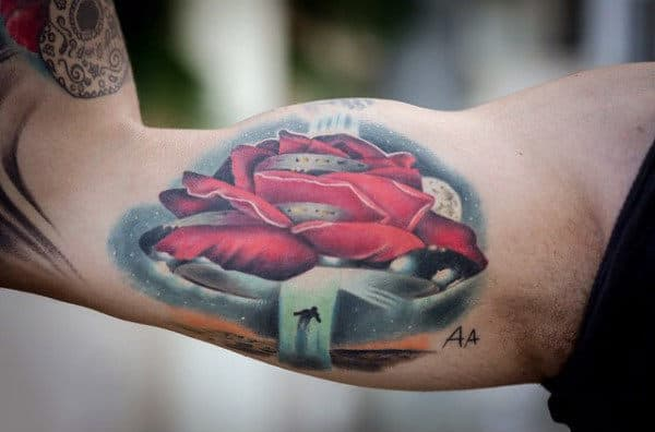 Impressive Red Extraterrestrial Object Tattoo Mens Upper Arms