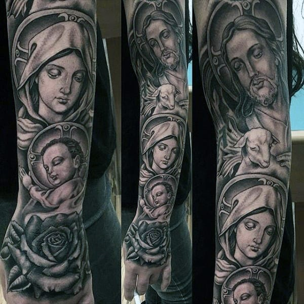 Impressive Religious Tattoo Male Sleeves