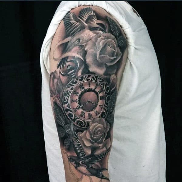 Impressive Rose And Pocket Watch Tattoo On Arms For Guys