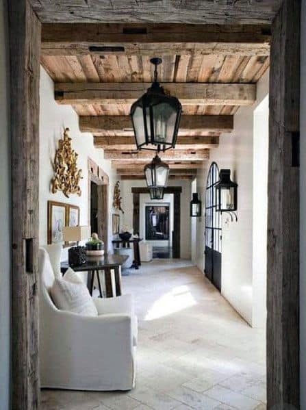 Impressive Rustic Wood Hallway Ceiling Beam Ideas
