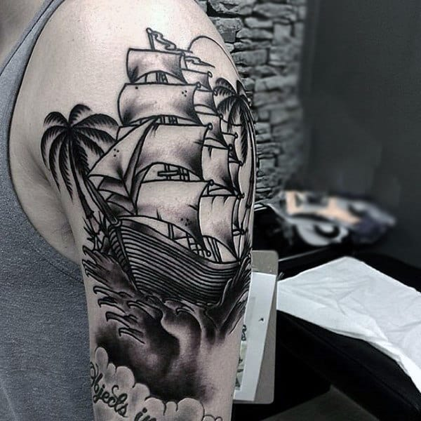 Impressive Ship With Palm Tree Tattoo On Shoulders For Men