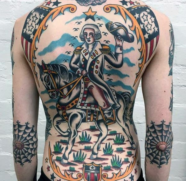 Impressive Traditional Tattoo Of Warrior On Mens Full Back